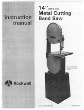 """Delta Rockwell 14"""" Metal Cutting Band Saw Instructions"""