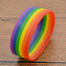 Rainbow Wristband Bangle Lesbian Gay Pride Silicone Cuff Unisex ID Birthday Gift