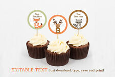 Woodland Forest Animals Cupcake Toppers Party Favor Tags Editable PDF