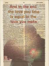 The End Beatles Love Couple Altered Art Print Upcycled Vintage Dictionary Page