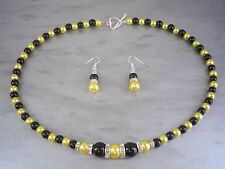 6aa Coloured Pearl and Diamante Necklace & Earrings Jewellery Set Silver Gold