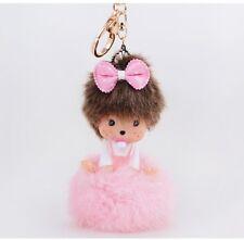 Pink monchichi girl bowknot key chain fashion doll Purse Messenger charm pendant