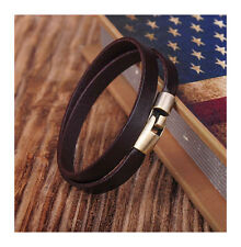 G334 Brown Alloy Clasp Cool Double Wrap Mens Leather Bracelet Wristband Cuff