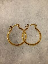 Small Size Smooth Plain Simple Classic Round Hoop Earring-18K Gold-Plated =18mm