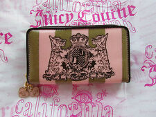 Juicy Couture Cosmetic Wallet Double Zip Makeup Brush Kit Pink NEW