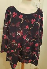 SOPHIE GRAY triple layer floral blouse top tunic size 26 28 navy pink
