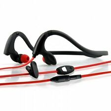 NoiseHush NS200-12074 3.5mm Sports Neckband Stereo Headphones, Black/Red