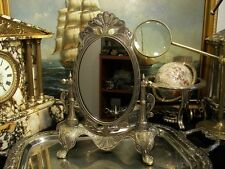 Vintage Brass Pedestal Swivel Vanity Mirror Makeup  Dressing Table  Gift