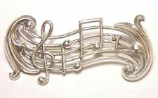 Vintage Signed Beau Sterling Silver 925 Music Score Treble Clef Note Pin Brooch