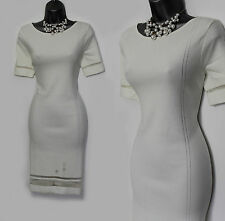 MONSOON Ivory Knitted Embellished Short Sleeves Dress UK 12 Wedding Evening