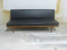 SUPER 1950'S MID CENTURY MODERN DANISH PETER HVIDT DAYBED SOFA W BLACK LEATHER