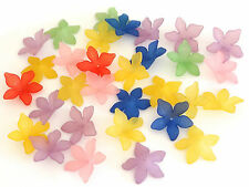 30 Mixed Frosted Acrylic Lucite Flower Beads 27mm Jewellery Marking
