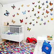 80 Pcs Wall Stickers Colorful Butterfly Decal Removable Art Vinyl Home Decor F