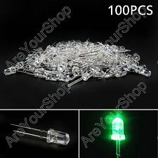 100Pcs 5mm Green Color Agua Clara LED Luz Lámpara Round Top Diodo Emisor F3