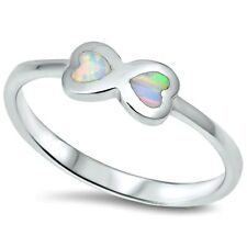 .925 Sterling Silver Ring size 4 Heart Opal Midi Kids Ladies Infinity Fire New