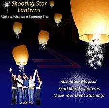 Event Lanterns Eco Friendly Shooting Star Sparkler Sky Lanterns (Pack Of 10) Whi