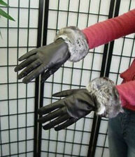 BRAND NEW BLACK LEATHER GLOVES W/ RANCH CHINCHILLA FUR WOMEN WOMAN CUSTOM MADE