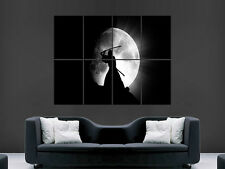 SAMURAI WARRIOR FULL MOON  FANTASY  ART WALL LARGE IMAGE GIANT POSTER HUGE !!!
