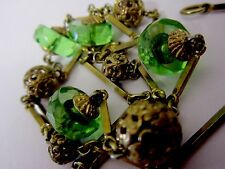 VINTAGE GOLD FILIGREE & EMERALD FACETED GLASS BEAD NECKLACE