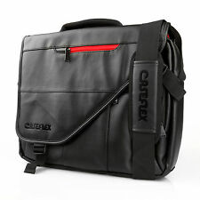 Caseflex Designer Messenger Bag Black PU Leather Laptop Shoulder Travel Satchel