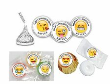 216 Emoji Birthday Hershey Kiss Labels Favors Stickers Personalized ANY