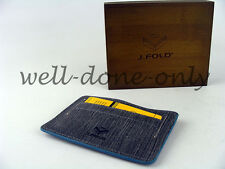J.Fold grey black leather flat Mini Card Case carrier Minimalist Wallet NIB gift