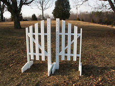 Horse Jumps 3 Panel Slant Wooden Wing Standards 6ft/Pair - White/Natural #214
