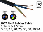Rubber Cable 2 & 3 core 1.5 & 2.5mm HO7RN-F Heavy Duty Camping Stage Outdoor