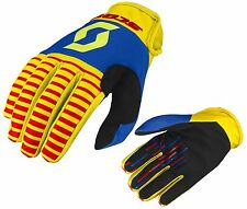 GUANTI GLOVES MOTO ENDURO CROSS MX SCOTT 350 TRACK YELLOW RED GIALLO BLU  TG L
