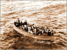 Photo Sepia View: Titanic's Collapsible Lifeboat D Approaches Carpathia, 1912