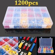 1200Pcs Assorted Electrical Terminals Spade Set Kits Insulated Wiring Connectors