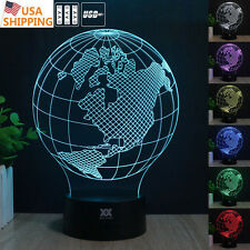 Globes America Earth 3D LED Acrylic Night Light  7 Color Touch Desk Table Lamp