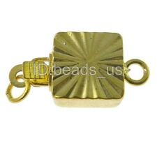 10PCs/Bag Free Shipping DIY Square Gold Plated Single-strand Brass Box Clasp