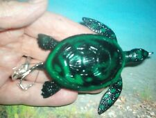 CRAFTED 4 IN  DARK GREEN TOP WATER TURTLE #5 HOOK , MUSKY PIKE LURE !