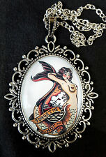 1950s TATTOO PIN UP MERMAID Antique Silver Pendant Necklace Sailor Jerry Nudie