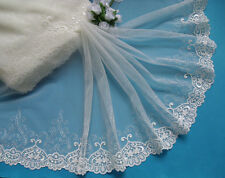 "10"" Wedding Bridal Off White Embroidered Flowers Net Lace Trims-Per Yard-T739"