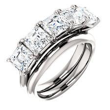 2.50 carat ASSCHER cut DIAMOND GIA D VS2 5 x 0.50 ct WEDDING RING 14k White Gold