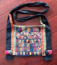 Antique Laos Hmong Bag, Boho, Hand Embroidered,Hand Woven Fabric, All hand Sewn