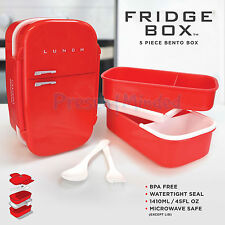 RED FRIDGE BOX Bento Retro Fridge Shaped Packed Lunch Container Sandwich Box