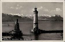 Lindau im Bodensee 1938 Hafeneinfahrt vom Bayerischen Hof Leuchtturm Lighthouse