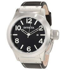 New Mens Invicta 1135 Corduba Black Dial Black Leather Strap Classic Watch