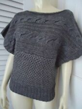 GRIFFLIN PARIS Sweater L Dolman Sleeve Pullover Knit  Gray Heather MultiKnit NEW