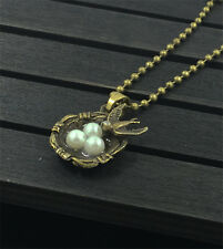 1pcs Bird Nest Necklace Charm Pendant Antique Bronze Love Family Gift HOT Q3