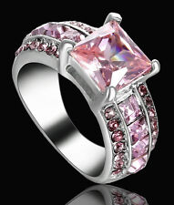 Lady/Women's Silver 14KT White Gold Pink Sapphire Wedding Ring Gift size 6 CZ