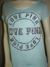 NWT VICTORIA'S SECRET LOVE PINK BLING SCOOPNECK RELAXED FIT TEE UFO GLOW SMALL