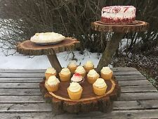 Elm Wood Rustic Cake Cupcake Pie Stand Wedding 3 Tiered Tier