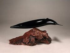 "FIN WHALE ""Ebonite"" Figurine New Direct from JOHN PERRY 12in long Sculpture"