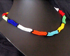 African tribal ethnic zulu beaded jewellery necklace bright colours twist