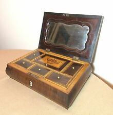 antique mid 1800's handmade inlaid wood marquetry jewelry box hidden compartment