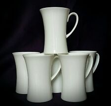 "Set of 6 Plain White Fine Bone China ""Waisted"" Mugs"